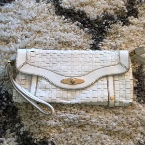 Elliot Lucca white patent leather clutch